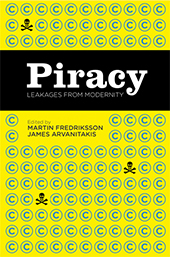 Cover of Piracy: Leakages from Modernity book. A yellow background covered in small pirate and copyright symbols.